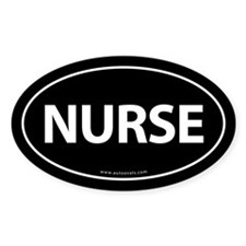 NURSE Euro Style Auto Oval Sticker -Black