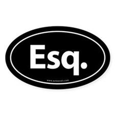 Esq. Euro Style Auto Oval Sticker -Black