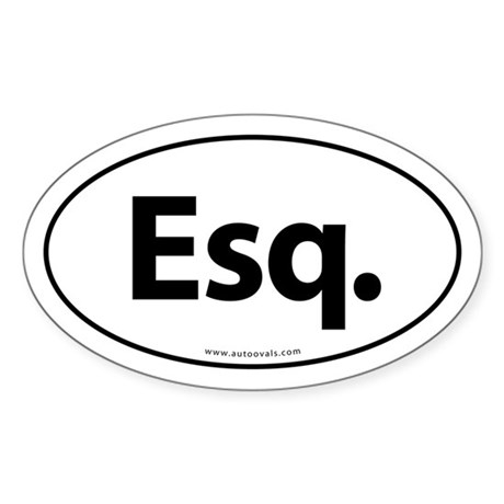 Esq. Euro Style Auto Oval Sticker -White