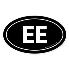 EE Euro Style Auto Oval Sticker -Black