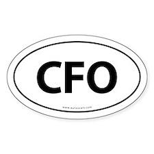 CFO Euro Style Auto Oval Sticker -White