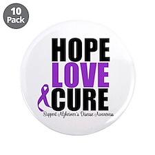 "HopeLoveCure Alzheimer's 3.5"" Button (10 pack)"