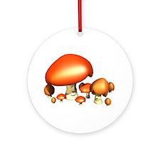 Mushroom Family Smiley Ornament (Round)