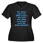 Jelly Beans Women's Plus Size V-Neck Dark T-Shirt