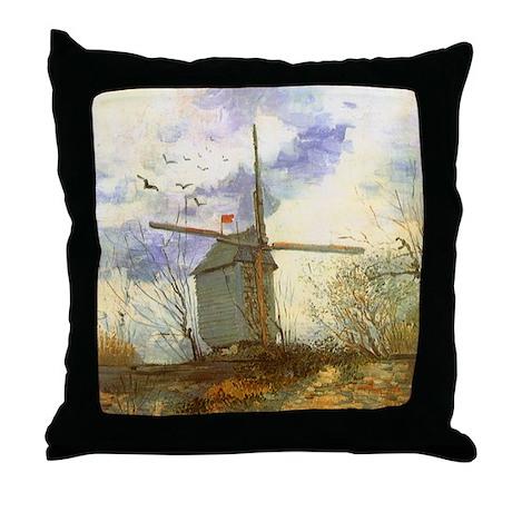 Van Gogh Le Moulin Throw Pillow