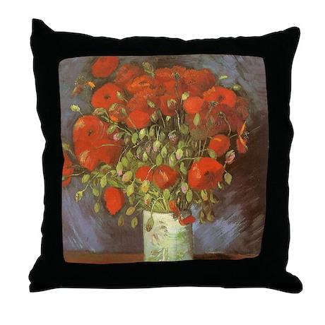 Van Gogh Vase w Red Poppies Throw Pillow