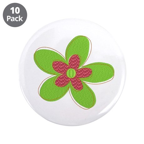 "Retro Flower 3.5"" Button (10 pack)"