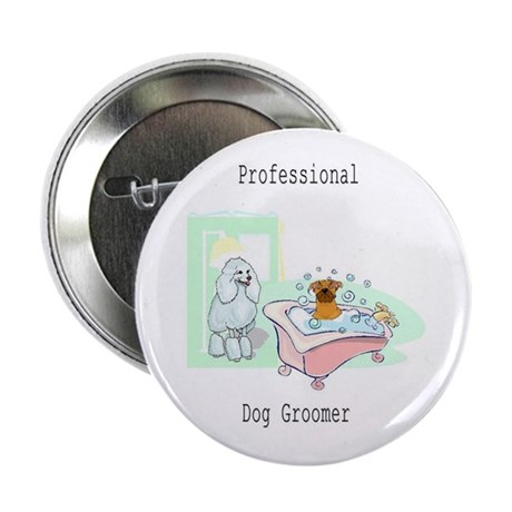 "Professional Dog Groomer Logo 2.25"" Button"