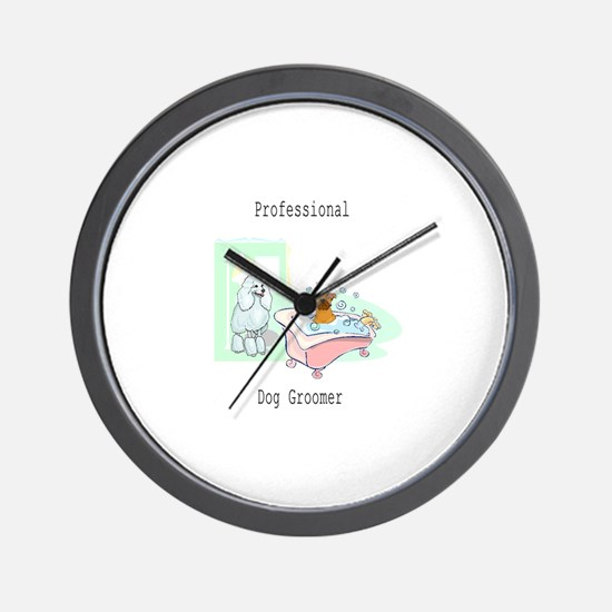 Professional Dog Groomer Logo Wall Clock