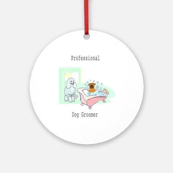 Professional Dog Groomer Logo Ornament (Round)
