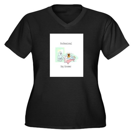 Professional Dog Groomer Logo Women's Plus Size V-