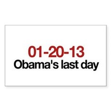 01-20-13 Obama's last day Rectangle Decal