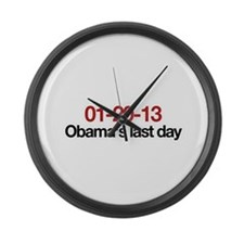 01-20-13 Obama's last day Large Wall Clock