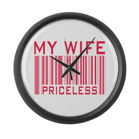 My Wife Priceless Barcode Large Wall Clock