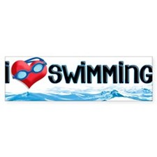 i heart swimming Bumper Bumper Sticker