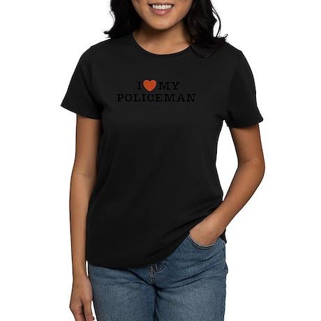 I Love My Policeman Women's Dark T-Shirt