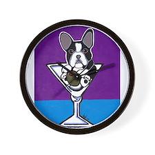 French Bulldog Martini, B&W Wall Clock