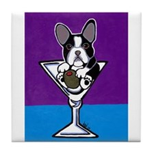 French Bulldog Martini, B&W Tile Coaster