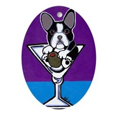French Bulldog Martini, B&W Oval Ornament