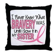 Bravery (Sister) Breast Cancer Awareness Throw Pil