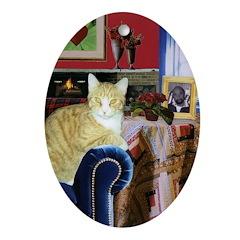 Orange & White Cat Oval Ornament