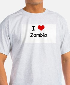 I LOVE ZAMBIA Ash Grey T-Shirt