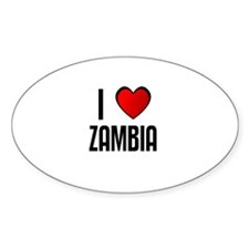 I LOVE ZAMBIA Oval Decal