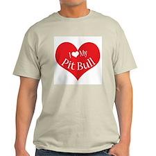 I Heart My Pit Bull Ash Grey T-Shirt