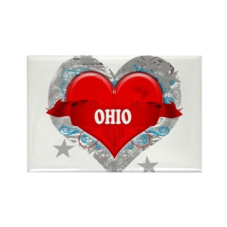 My Heart Ohio Vector Style Rectangle Magnet