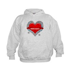 My Heart North Dakota Vector Hoodie