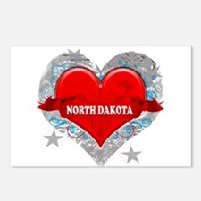 My Heart North Dakota Vector Postcards (Package of