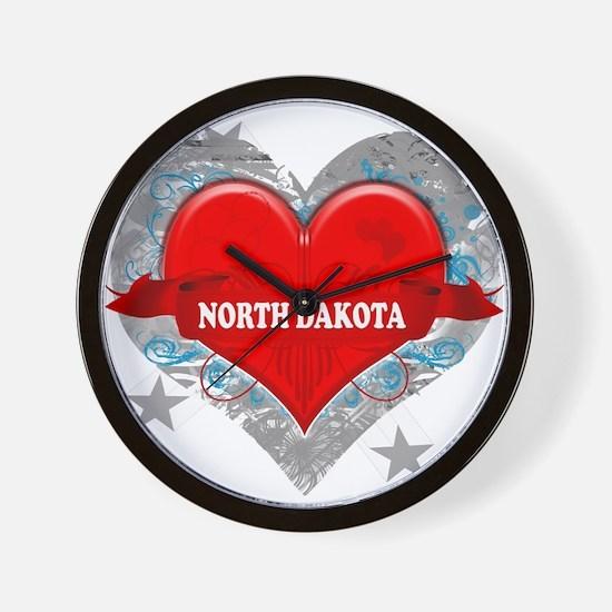 My Heart North Dakota Vector Wall Clock