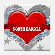 My Heart North Dakota Vector Tile Coaster