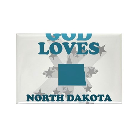 God Loves North Dakota Rectangle Magnet