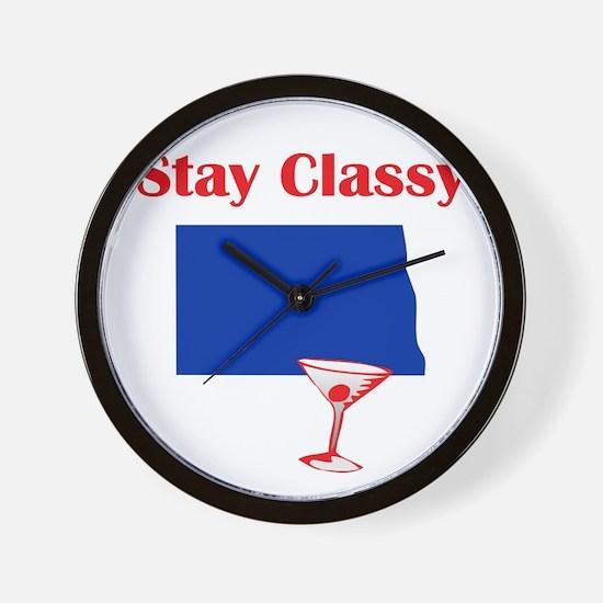 Stay Classy North Dakota Wall Clock