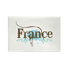 Blue Grunge France Rectangle Magnet