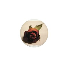 Dry red rose Mini Button (10 pack)