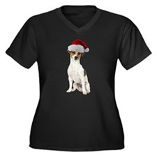 Jack Russell Terrier Xmas Women's Plus Size V-Neck