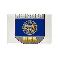 Nebraska USA Crest Rectangle Magnet