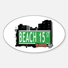 BEACH 15 STREET, QUEENS, NYC Oval Decal