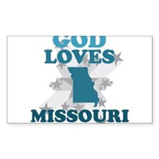 God Loves Missouri Rectangle Decal
