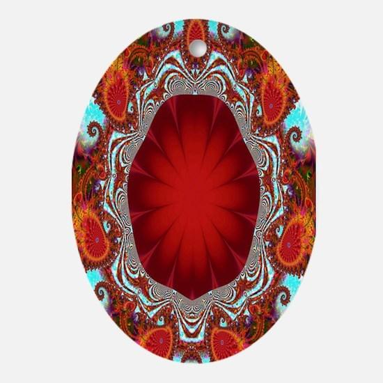 """Ruby Tuesday"" Fractal Art Oval Ornament"