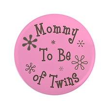 "Babie's Shower - Twin Girls 3.5"" Button"