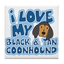 I Love my BT Coonhound Tile Coaster