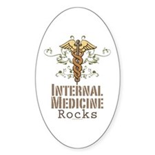 Internal Medicine Rocks Oval Decal