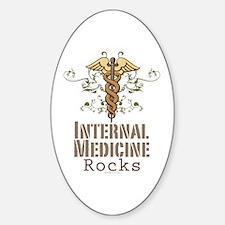 Internal Medicine Rocks Oval Decal