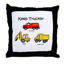 keep truckin' Throw Pillow
