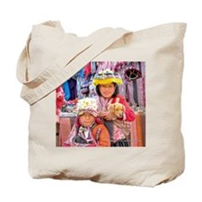 Cute Peruvian Kids with Pets - Tote Bag