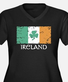 Ireland Flag Women's Plus Size V-Neck Dark T-Shirt