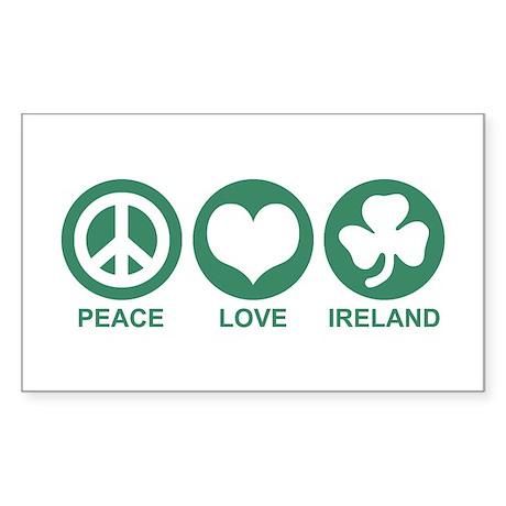 Peace Love Ireland Rectangle Sticker
